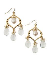 Lee Angel | White Pearl Crystal Chandelier Earrings | Lyst