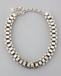Lee Angel - Metallic Silverplated Clear Crystal Baguette Necklace - Lyst