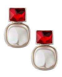 Majorica - Mabe Pearl Red Crystal Earrings - Lyst