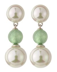 Majorica | Pearl Green Quartz Drop Earrings | Lyst