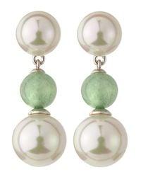 Majorica - Pearl Green Quartz Drop Earrings - Lyst
