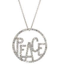 Roberto Coin | Metallic Diamond Peace Circle Pendant Necklace | Lyst