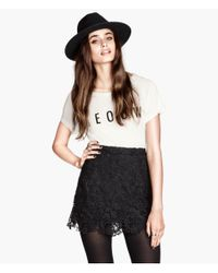 H&M | Black Skirt With Broderie Anglaise | Lyst
