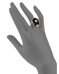 Judith Ripka - Metallic Trellis Black Onyx, White Sapphire, 14k Yellow Gold & Sterling Silver Oval Garland Cocktail Ring - Lyst