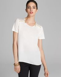 MICHAEL Michael Kors - White Zip Short Sleeve Top - Lyst
