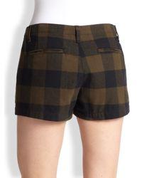 Rag & Bone   Brown Portobello Plaid Cotton Shorts   Lyst