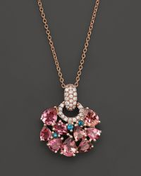 Roberto Coin | 18k Rose Gold Fantasia London Blue Topaz And Pink Tourmaline Pendant Necklace, 16"