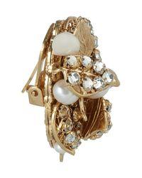 Bijoux Heart Metallic Goldplated Swarovski Crystal and Pearl Clip Earrings