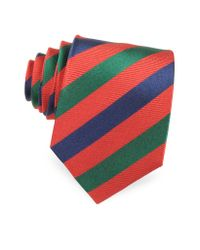 FORZIERI | Red Three Toned Striped Woven Silk Tie for Men | Lyst