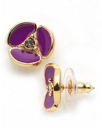 kate spade new york   Purple Disco Pansy Stud Earrings   Lyst