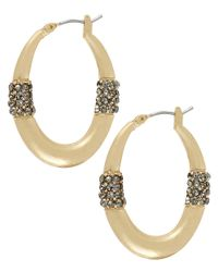 Kenneth Cole - Metallic Goldtone Hoop Earrings with Crystal Accents - Lyst