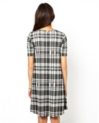ASOS - Gray Check Jacquard Swing Dress - Lyst