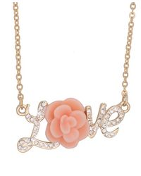 Forever 21 - Pink Love Charm Necklace - Lyst