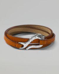 Ippolita | Orange Pelle Sterlinghook Leather 3wrap Bracelet in Tan Size 2 for Men | Lyst