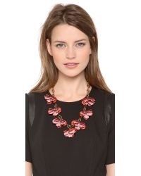 Tory Burch - Pink Pentier Multi Flower Necklace - Lyst