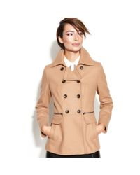 DKNY - Natural Doublebreasted Woolblend Pea Coat - Lyst