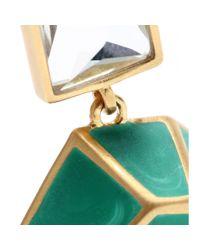 Isharya - Green Pyramid Luxe 24kt Goldplated Malachite Earrings - Lyst