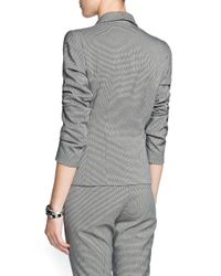 Mango - Black Houndstooth Print Suit Blazer - Lyst