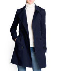 Mango | Blue Puff Shoulder Cotton Trench Coat | Lyst
