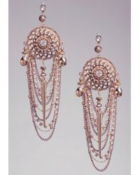 Bebe - Metallic Draped Chain and Crystal Statement Earring - Lyst