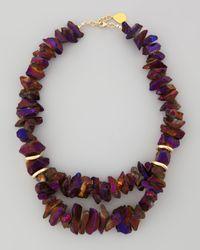 Devon Leigh | Brown Freeform Iridescent Purple Pyrite Necklace | Lyst