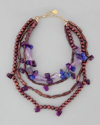 Devon Leigh | Multicolor Fuchsia Agate & Ruby Quartz Necklace | Lyst