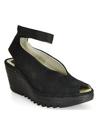 Fly London | Black Ankle Strap Peep Toe Wedge | Lyst