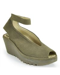 Fly London | Green Yala Ankle Strap Peep Toe Wedge | Lyst