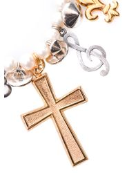 Saint Laurent | White Charm and Pearl Bracelet | Lyst