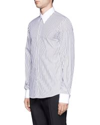 Alexander McQueen - Blue Double Striped Cotton Shirt for Men - Lyst