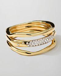 Ippolita   Metallic 18k Gold Stardust Squiggle Ring With Diamonds   Lyst