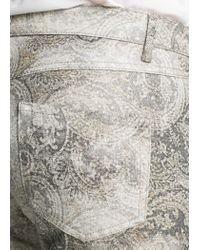 Mango - Gray Distressed Paisley Print Trousers - Lyst
