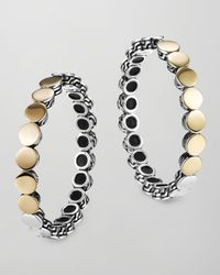 John Hardy - Metallic Dot Silver Goldplate Medium Hoop Earrings - Lyst