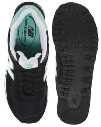 New Balance - Black 574 Suede and Mesh Mint Stripe Trainers - Lyst