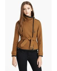 Burberry Brit | Natural Waltbridge Belted Asymmetrical Jacket | Lyst