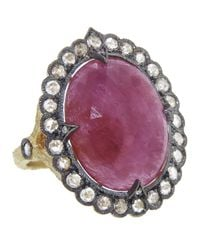Cathy Waterman - Pink Scalloped Frame Ring - Lyst