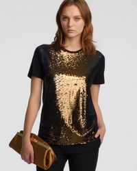 Halston | Black Shortsleeve Sequined Tee Dark Gold | Lyst