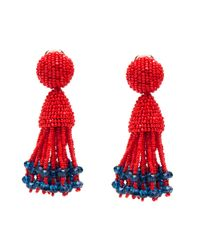 Oscar de la Renta | Red Beaded Tassel Earring | Lyst