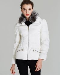 Andrew Marc - White Down Coat Luxe Stretch Satin - Lyst