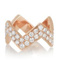 Anita Ko | Metallic Zig Zag 18karat Rose Gold Diamond Ring | Lyst