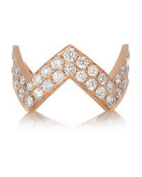 Anita Ko - Metallic Zig Zag 18karat Rose Gold Diamond Ring - Lyst