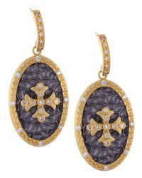 Belargo - Purple Oval Hammered Cross Earrings - Lyst