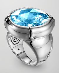 John Hardy | Metallic Batu Bamboo Silver Blue Topaz Ring for Men | Lyst