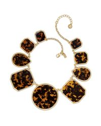Kate Spade | Multicolor New York Necklace Goldtone Tortoise Stone Allaround Statement Necklace | Lyst