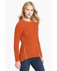MICHAEL Michael Kors | Orange Side Zip Cable Knit Sweater | Lyst
