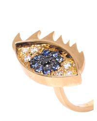 Delfina Delettrez - Metallic Diamond, Sapphire, Pearl & Gold Eye Ring - Lyst
