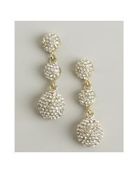 Kenneth Jay Lane | Metallic Gold Crystal Covered Triple Ball Drop Earrings | Lyst
