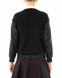 Sea - Black Leopard Print Wool and Leather Sweatshirt for Men - Lyst