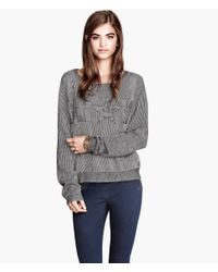 H&M - White Knitted Jumper - Lyst