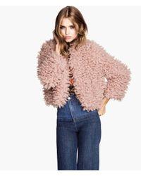 H&M - Pink Fake Fur Jacket - Lyst